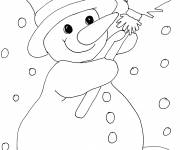 Coloring pages Snowman loves snow
