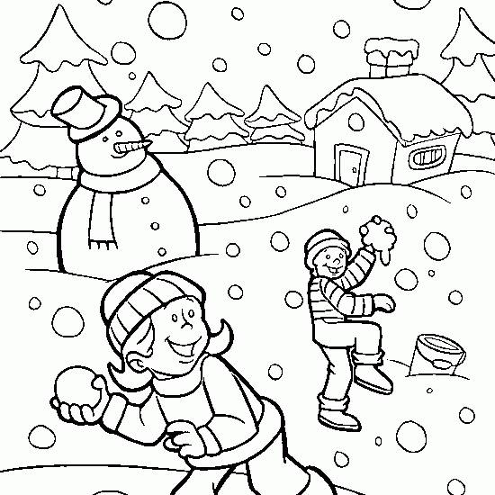 Free coloring and drawings Snowy landscape Coloring page