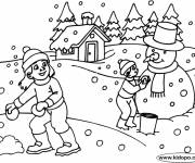 Coloring pages Snowy landscape in Winter in black