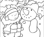 Coloring pages Snowy winter and The little girl