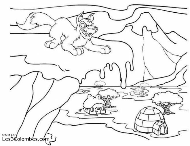 Free coloring and drawings The Bad Wolf in Winter Coloring page