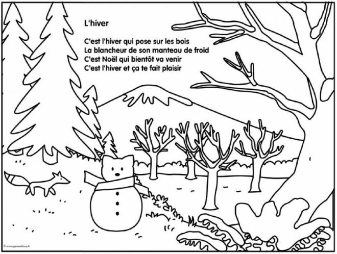Free coloring and drawings The Winter Season to download Coloring page