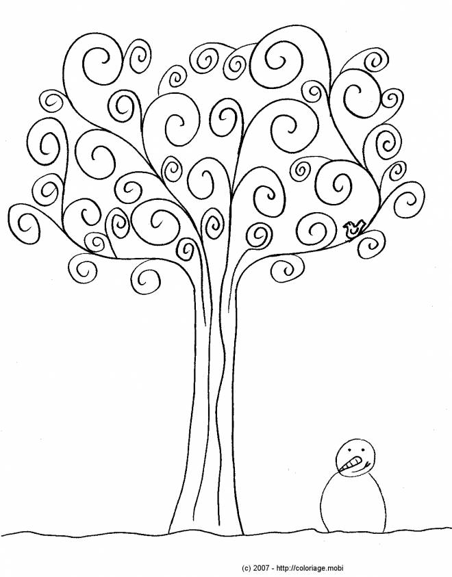 Free coloring and drawings Tree in Winter Coloring page