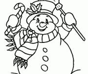 Coloring pages very cheerful snowman