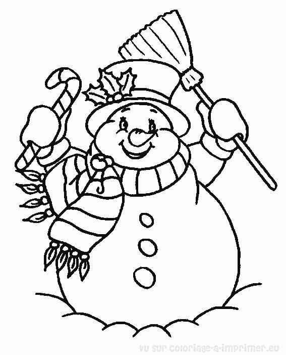 Free coloring and drawings very cheerful snowman Coloring page