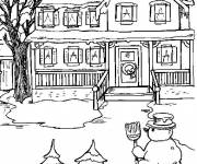 Coloring pages Winter and Snow in front of the house