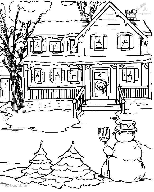 Free coloring and drawings Winter and Snow in front of the house Coloring page