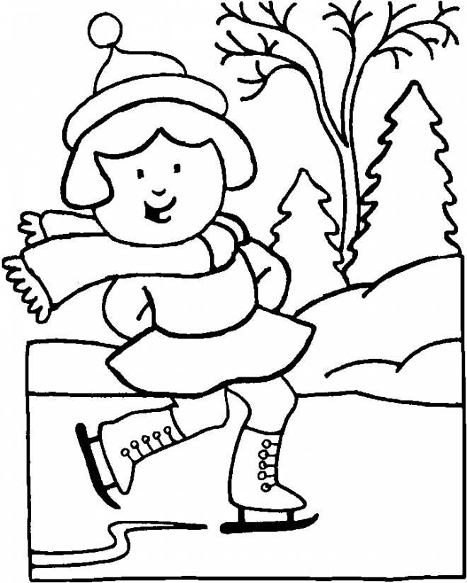 Free coloring and drawings Winter Season Skier Coloring page