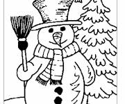 Coloring pages Winter season stylized in black