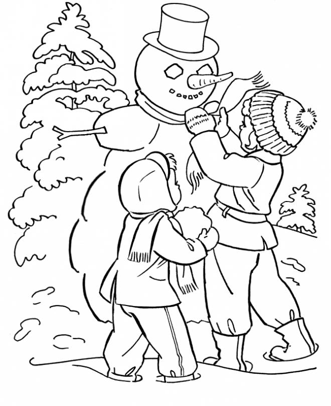 Free coloring and drawings Winter season to decorate Coloring page