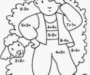 Coloring pages Addition Boy on the farm