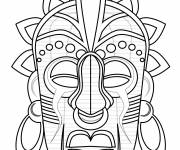Free coloring and drawings African mask color Coloring page