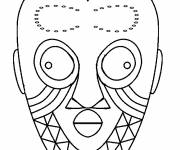 Free coloring and drawings African mask for decoupage Coloring page