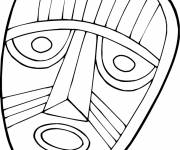 Free coloring and drawings African mask in black and white Coloring page