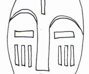 Free coloring and drawings African mask in Gabon Coloring page