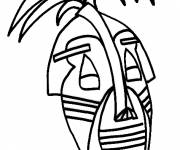 Free coloring and drawings African maternal mask Coloring page