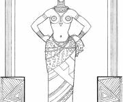 Free coloring and drawings African woman black and white Coloring page