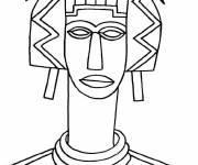 Free coloring and drawings African woman with a long neck Coloring page