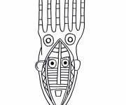 Free coloring and drawings Easy African Mask Coloring page
