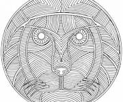 Free coloring and drawings Lion mandala for adult Coloring page