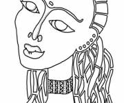 Free coloring and drawings Stylized African Woman Coloring page