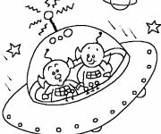 Coloring pages Alien and Flying Saucer