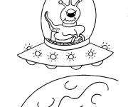 Coloring pages Alien in his Spaceship