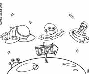 Coloring pages Extraterrestrials arrive on earth