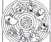 Coloring pages Animal Mandala for children