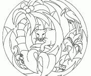 Coloring pages Easy Africa Animal Mandala