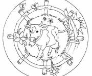 Coloring pages Easy Beef Mandala
