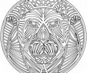 Coloring pages Mandala Lion difficult