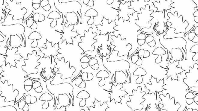 Free coloring and drawings Anti-Stress deer and acorns Coloring page