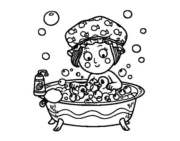 Free coloring and drawings A cute girl in the bathroom Coloring page