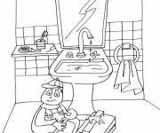 Free coloring and drawings The Plumber Bathroom Coloring page