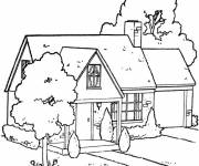 Coloring pages A wooden house