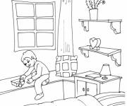 Coloring pages The boy is playing in his room