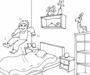 Coloring pages The Child amused in his Room