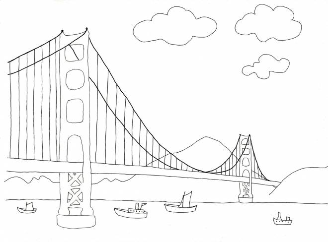 Free coloring and drawings A bridge in perspective Coloring page