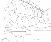 Free coloring and drawings Bridge in line Coloring page