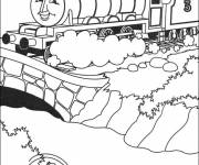 Free coloring and drawings Magic train on the bridge Coloring page