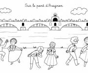 Free coloring and drawings The bridge of Avignon Coloring page