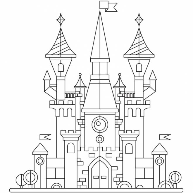 Free coloring and drawings A beautiful stylized castle Coloring page