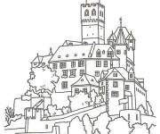 Free coloring and drawings A big castle in France Coloring page