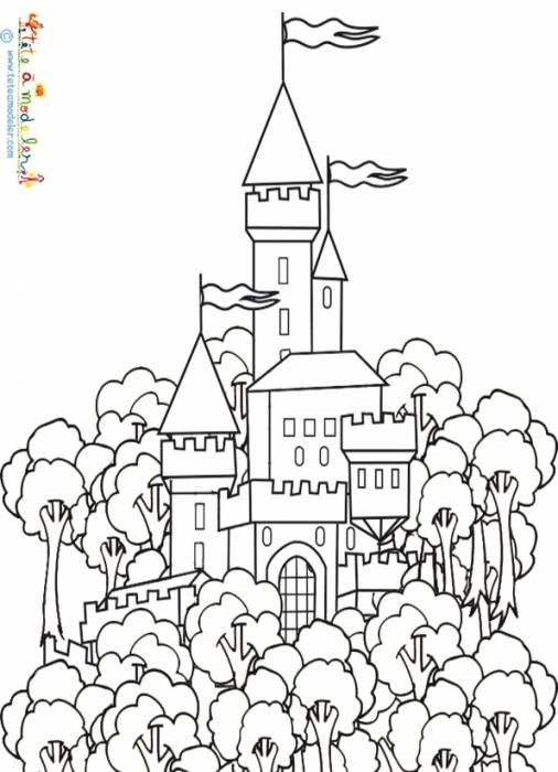 Free coloring and drawings A Castle in The Forest Coloring page