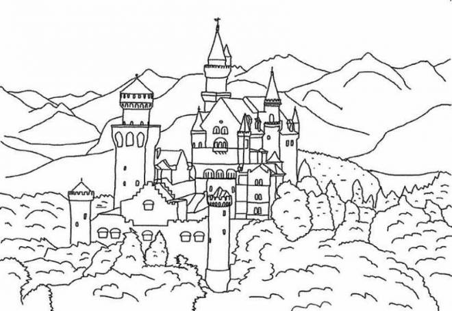 Free coloring and drawings A distant castle Coloring page