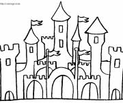 Free coloring and drawings black and white castle Coloring page