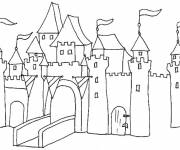 Free coloring and drawings Castles in pencil Coloring page