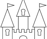 Free coloring and drawings Easy Castles Coloring page