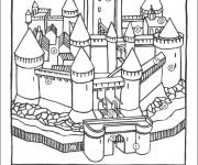 Free coloring and drawings numbered castle Coloring page